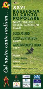 CORO ASIAGO - XXVI RASSEGNA CORALE @ Teatro Millepini | Treviso | Veneto | Italia